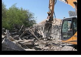 Bauschuttzerkleinerung auf dem Gelände der Finkel GmbH